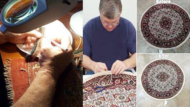 man meticulously repairing an oriental rug
