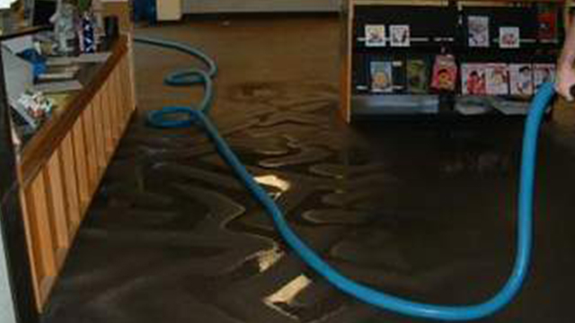 blue coiled hose used to clean up water damage